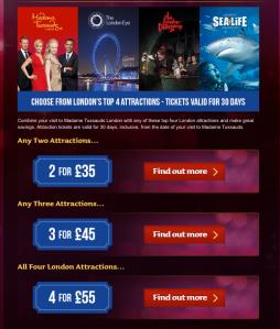 London eye - Madame Tussauds - Sea Life